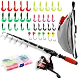 Fishing Rod Reel Combos with Shark Fishing Bag All-in-One 1.52M/5FT Telescopic Fishing Pole Fishing Gear Spinning Reel with Carrier Bag for Beginner Youth Travel Outside Saltwater Freshwater