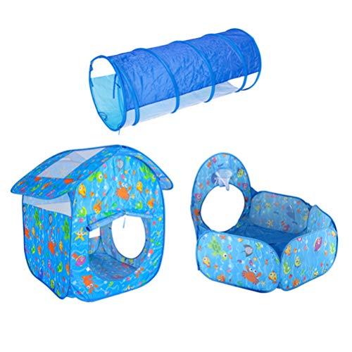 Tomaibaby 3Pcs Ocean World Kids Play Carpa Túnel Hoyo de Bolas con Aro de Baloncesto para Niños Niñas Niños Pequeños Casa de Juegos Al Aire Libre Interior Camping Juegos de Regalo Juguetes