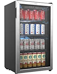 MODERN ELECTRIC BEVERAGE COOLER - This 3.2 cubic feet, free standing beverage refrigerator features an elegant see through, left hinge glass front door with a stainless steel frame for you to view your wine, beer or soda at a glance. Its white LED in...