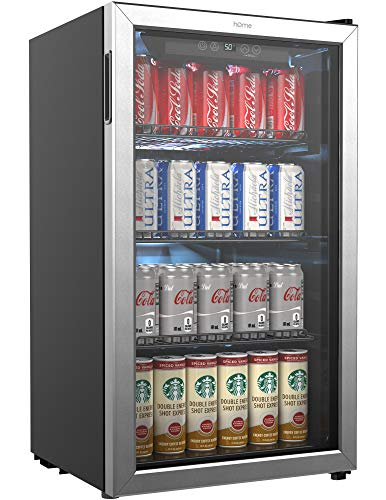 hOmeLabs Beverage Refrigerator and Cooler - 120 Can Mini Fridge with Glass Door for...