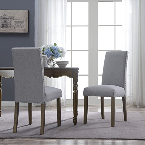 BELLEZE Set of (2) Dining Chairs Linen Seat Cushion Nailhead Trim Accent Elegant Side Chair Wooden Leg, Gray