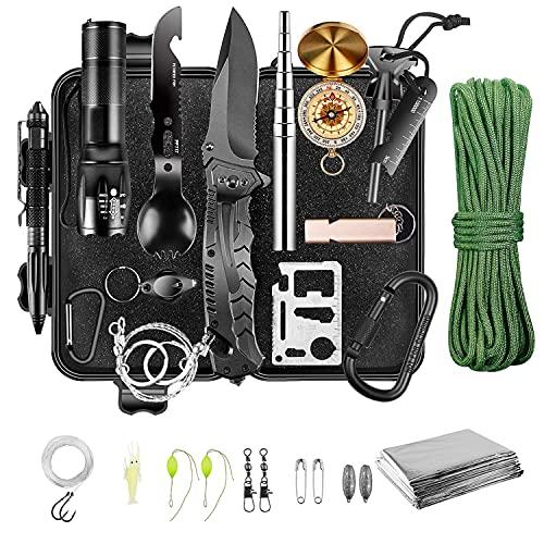 Kit de supervivencia de emergencia, equipo y equipo de supervivencia, regalos de cumpleaños del día de San Valentín para hombres, papá, esposo, novio, adolescente, campamento, pesca, senderism