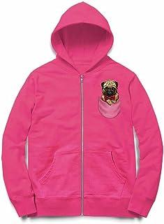 Fox Republic 眼鏡 蝶ネクタイ ポケット パグの赤ちゃん 犬 ピンク キッズ パーカー シッパー スウェット トレーナー 150cm