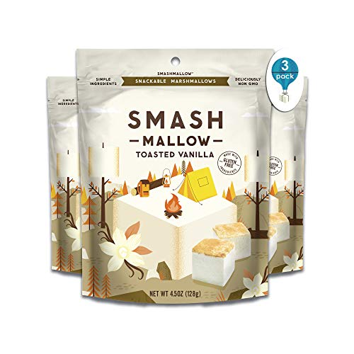 Toasted Vanilla 3 Pack By SmashMallow | Snackable Marshmallows | Non-GMO | Organic Cane Sugar | 100 Calories | Pack Of 3 (4.5 Oz)
