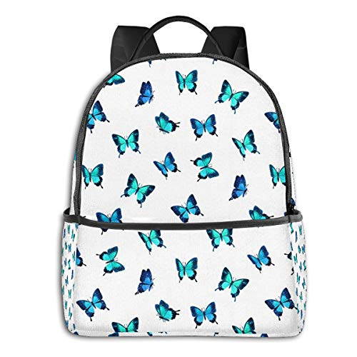 Qucoost Blue Butterflies Daypack With Side Pockets, College School Bookbag Anti-Theft Multipurpose
