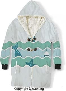 Fishing Decor Blanket Sweatshirt,Fish Tail and Starfish Swimming in Flat Waves Submarine Comic Illustration Wearable Sherpa Hoodie,Warm,Soft,Cozy,XXL,for Adults Men Women Teens Friends,Light Blue