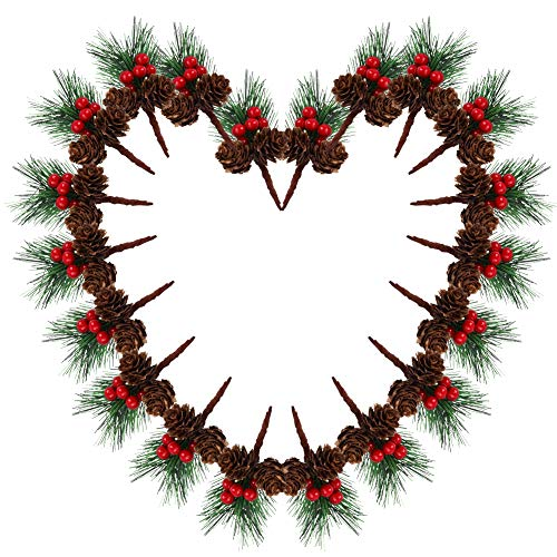 20 Pezzi Pino di Natale Piccole Bacche Finte Pigne Albero di Pino Artificiale per ghirlanda di fiori fai da te Giardino di Nozze Decorazioni Artigianali dell'Albero di Natale biglietti di auguri