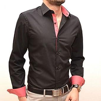 Camisa para hombre negra y rosa Slim Fit Rosa Rose: Amazon.es ...