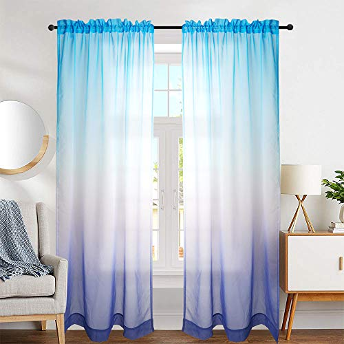 NINETREX Ombre Sheer Curtains Fashion Purple and Blue Ombre Curtains for Living Room Rod Pocket 2 Panels (52x84, Blue and Purple)