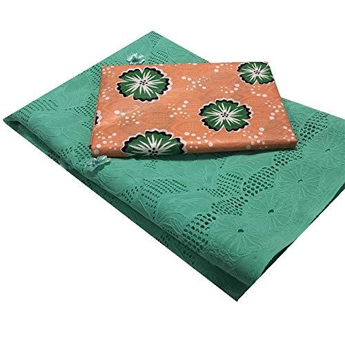 Unbekannt Spitzenkleid 5yards Basin Guinea Brocade Fabric African Bazin Rihce Brode mit 2.5yards Schweizer Baumwollspitze for Kleid (Color : Cyan, Size : 5+2.5 Yards)