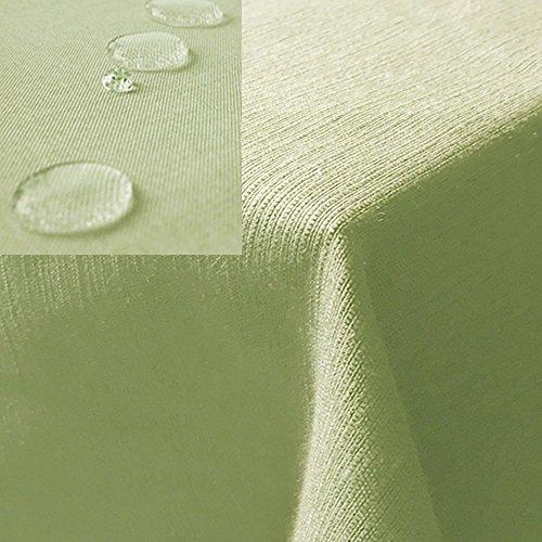 JEMIDI Tischdecke/Gartentischdecke Lotus Effekt Leinenoptik Tischdecke Decke Leinen Fleckschutz XL (Hellgrün, Eckig 135cm x 200cm)