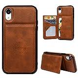 Beaulife - Funda tipo cartera para iPhone XR, cartera de piel con función de funda para iPhone 9, funda de piel con 3 ranuras para tarjetas y dinero en efectivo, marrón