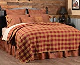 VHC Brands Burgundy Check Pattern Country Cotton King Quilt Lightweight Coverlet, King-105x95, Red