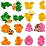 MEZHEN Formine per Biscotti Natalizi Tagliabiscotti Halloween Stampi Biscotti 3D Pasqua Stampo per Biscotti Cookie Cutter Plastica Taglia Biscotti Pasta Frolla Accessori da Cucina 16 Pezzi