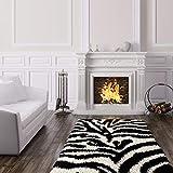 Ottomanson Collection Zebra Print shag Area Rug, 5'3'' X 7', Black/White
