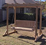 THREE MAN Natural Cedar Pergola Garden Arbor with 5 Foot Swing