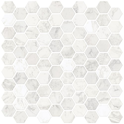 In Home NH2359 Hexagon Faux Marble Peel & Stick Backsplash Tiles, White & Off-White