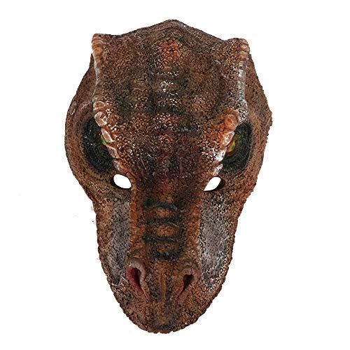 Mscara de dinosaurio 3D unisex para adultos, mscara de fiesta de Halloween, mscara de dragn, cosplay para fiesta de Mardi Gras, talla nica (dinosaurio marrn)