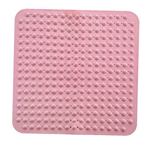 Ducha Alfombras De Baño Alfombra De Masaje Estera del Piso De La Plaza No Slip Mat Bañera con Ventosas para Baño Rosa 80x80cm