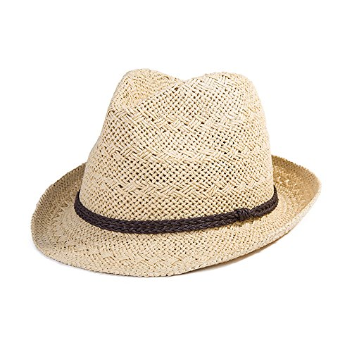 SIGGI Sommerhut beiger Panama Sonnenhut Webart Stroh Fedora Hut mit Sonnenschutz