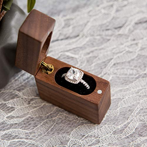 Secret Portable Wood Ring Box for Engagement, Proposals and Wedding Ceremony