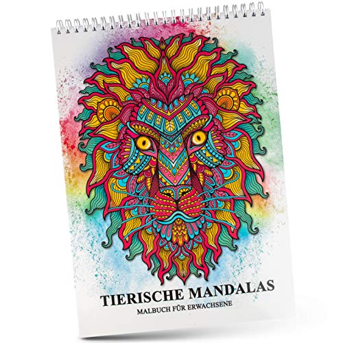 COLOURWERK Malbuch für Erwachsene - Extrem Dickes Premium Papier inkl. Spiralbindung - Malen ohne Verschmieren und Durchdrücken - Mandala Ausmalbuch für Erwachsene