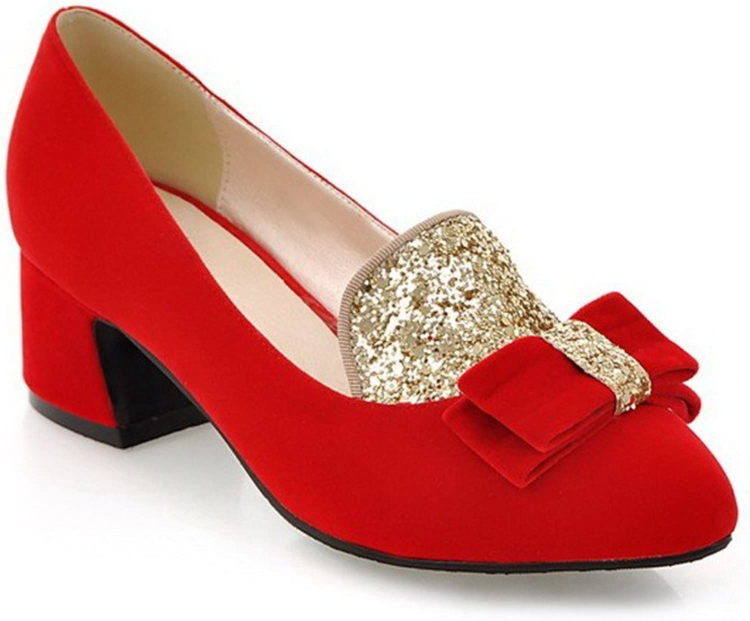WeenFashion Women's Closed Pointed Toe Mid Heel Chunky Frosted PU Solid Pumps whith Sequins and Bowknot, Red, 7.5 B(M) US