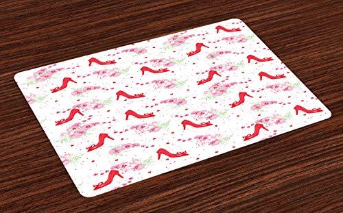 ABAKUHAUS Modern Placemat Set van 4, Fashion Hoge hakken Flowers, Wasbare Stoffen Placemat voor Eettafel, rood Wit