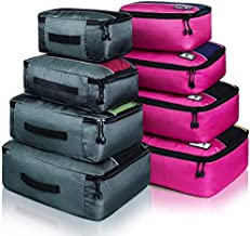 8 Set Packing Cubes, Travel Luggage Bags Organizers Mixed Color Set (Grey Rose)