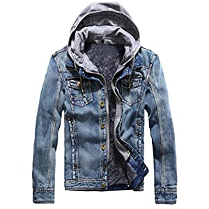 Men's  Denim Hooded Jacket Slim Fit Casual Jacket Button Down Distres...