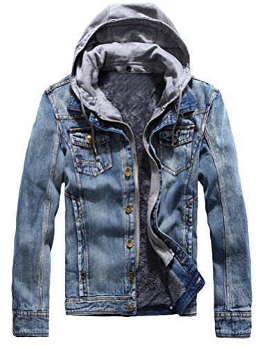 Lavnis Men's Winter Denim Hooded Jacket Slim Fit Casual Jacket Button Down Distressed Jeans Coats Outwear Blue L