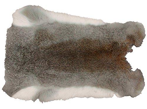 Ensuite Kaninchenfell Graubraun naturfarben, ca. 30x30 cm, Felle vom Kaninchen mit seidigem Haar