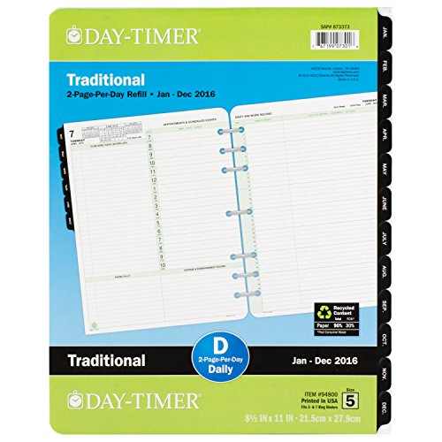 Day-Timer Daily Reference Planner Refill 2016, Two Page Per Day, Traditional, Folio Size, 8.5 x 11 Inches (94800)
