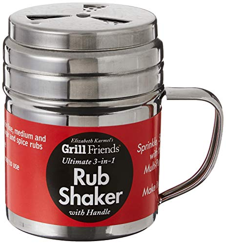 Elizabeth Karmel's Adjustable Dry Rub Shaker with Holes for Medium and Coarse Grind Seasonings, Stainless Steel, 1-Cup Capacity