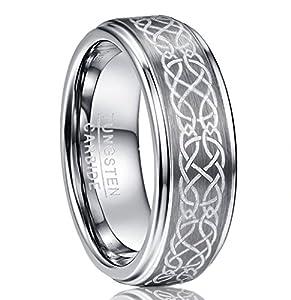 NUNCAD Ring Herren/Damen XXL Silber 8mm mit Keltischen Knoten Design, Wolfram Ring Unisex matt gebürstet für Partnerschaft, Hochzeit, Geburtstag, Fasching, Größe 72 (32)