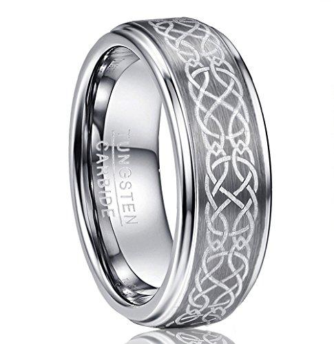 NUNCAD Wolfram Ring Damen/Herren Silber 8mm keltischen Knoten Design für Hochzeit, Verlobung, Geburtstag, Größe 54 (14)