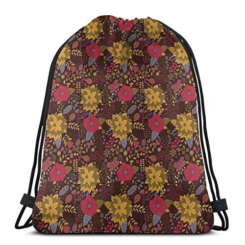 DPASIi Drawstring Shoulder Backpack Travel Daypack Gym Bag Sport Yoga,Botany Inspired Illustration with Flourishing Nature Butterflies And Ladybugs,5 Liter Capacity,Adjustable.