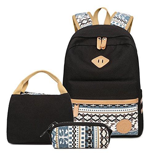 Gestreifter Rucksack/Schultasche mit Laptopfach von Artone - lässiger Schulrucksack, Black Ethnic Lunch Bag Pencil Case Set of 3 (Schwarz) - FIGAROXP111717