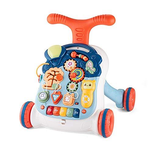 Trotteur Musique Trotteur Early Education push Table de jeu d'apprentissage Step Aide Rollover prévention for 6-30 mois jouet éducatif Cadeau pour Bébé ( Couleur : Multicolore , Taille : 41X36X44CM )