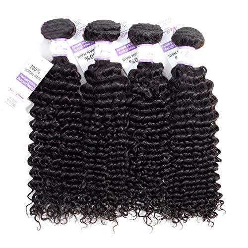 Pelucas de cabello natural La armadura brasileña del pelo de la onda profunda empaqueta el pelo 100% humano que teje el pelo natural del color no Remy puede comprar 4 PC extensiones de cabello natural