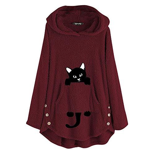 Sudaderas con Capucha de Felpa para Mujer Moda Jersey de Bordado de Gatos de Mujer Sudadera con Capucha cálida más tamaño Bolsillo Abrigo de Invierno Sudadera Blusa