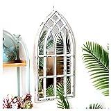 Espejo de pared Arco rústica Jardín del espejo for interiores y exteriores Uso, Ventana de montaje en pared blanco antiguo simulación, American Pórtico de la vendimia que cuelga decoración fondo 80cm