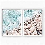 Ocean Wave Landscape Beach Impresiones en Blanco y Negro Nordi Wall Art Posters Imágenes Decorativas para Sala de Estar 2X30x40cm sin Marco
