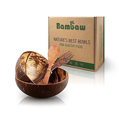 Kokosnuss Schale Set aus 2 Schalen mit Holzbesteck | Vegane Schüssel | Für Buddha Bowl und Acai Bowl | Holz Schalen Set | Bowl Set | Holz Schüssel | Schüssel Set | Coconut Bowl | Bambaw