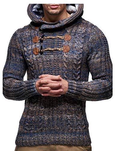 Leif Nelson Gebreide trui voor heren | Slim fit Hoodie met lange mouwen | Basic Winter Hoodie-Sweater voor heren