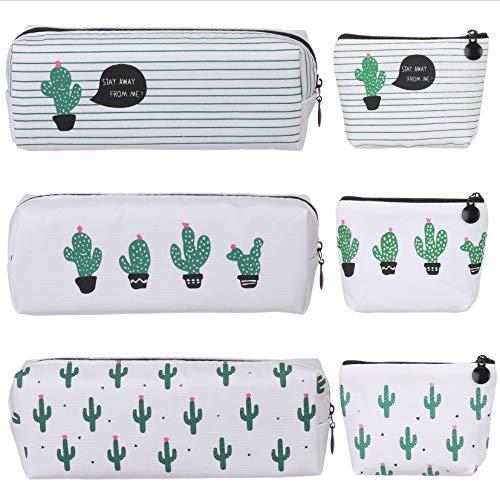 Elisel 6 Pack Cactus Design Canvas Pen Case Pencil Bag,Pencil Pouch Travelling Cosmetic Bags Coins Bag Storage Bag Cute Pencil case(Medium Sized 2)