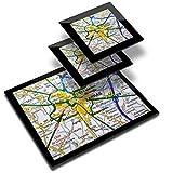 Destination 44151 - Mantel individual de vinilo (20 x 25 cm, 2 posavasos de 10 x 10 cm), diseño de mapa de viaje francés de Arras City Francia