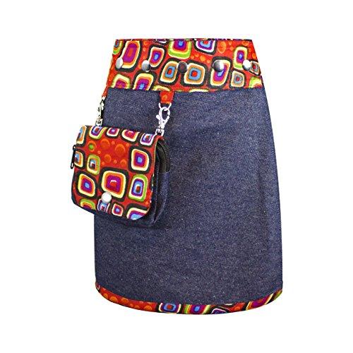 SUNSA Mädchen Rock Jeansrock Minirock Wickelrock Wenderock Sommerrock Mädchenrock aus Baumwolle, 2 optisch verschiedene Röcke mit einem abnehmbaren Täschchen, Größe ist variabel verstellbar rot