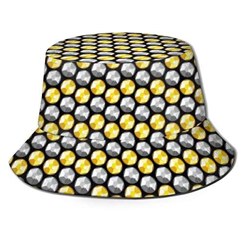 BeiBao-shop Gorras Lentejuelas de Cristal Dorado y Plateado Sombrero de Pescador Gorra de Pesca Visera de Sombra Gorra de sombrilla