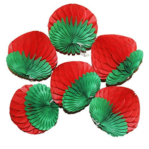 6PCS 6inch Paper Honeycomb Honeycomb Strawberry Balls Tissue Strawberry Decorations Paper Flower Balls Hanging Wall Decoration Party Wedding Birthday Baby Shower Home Decora (6 Strawberry)